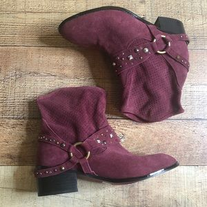 Twiggy London Wine Suede Stud Harness Ankle Boots